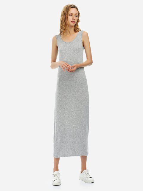 Crew Neck Sleeveless Dress - HEATHER GRAY S