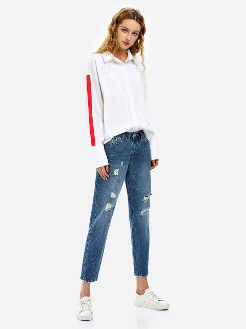 Ripped Ankle Jeans - BLUE L