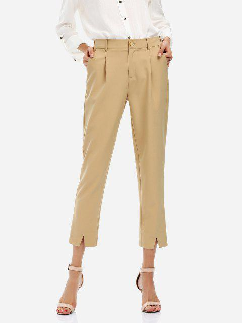 Ankle Length Cropped Pants - KHAKI L