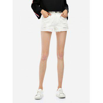 Ripped Cotton Shorts - WHITE XL