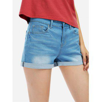 Faded Denim Shorts - BLUE BLUE