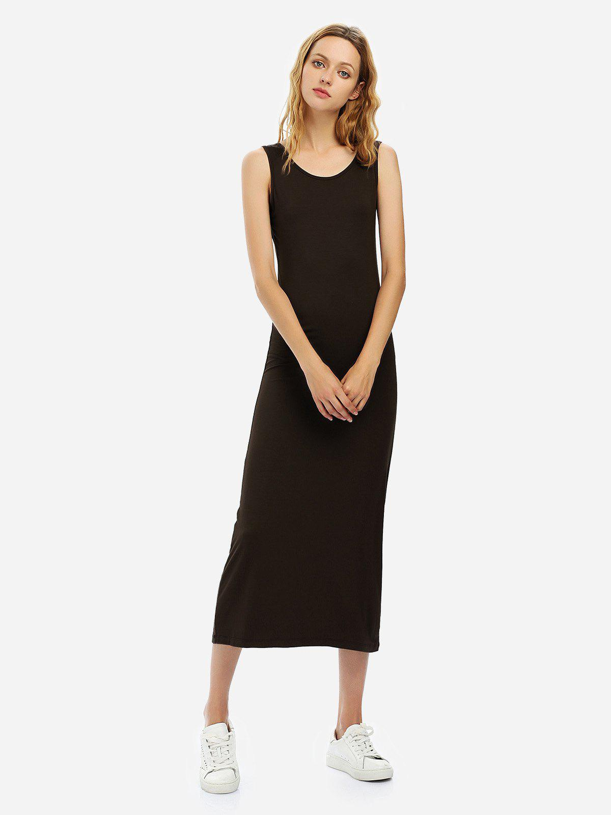 ZAN.STYLE Crew Neck Sleeveless Dress - COFFEE XL