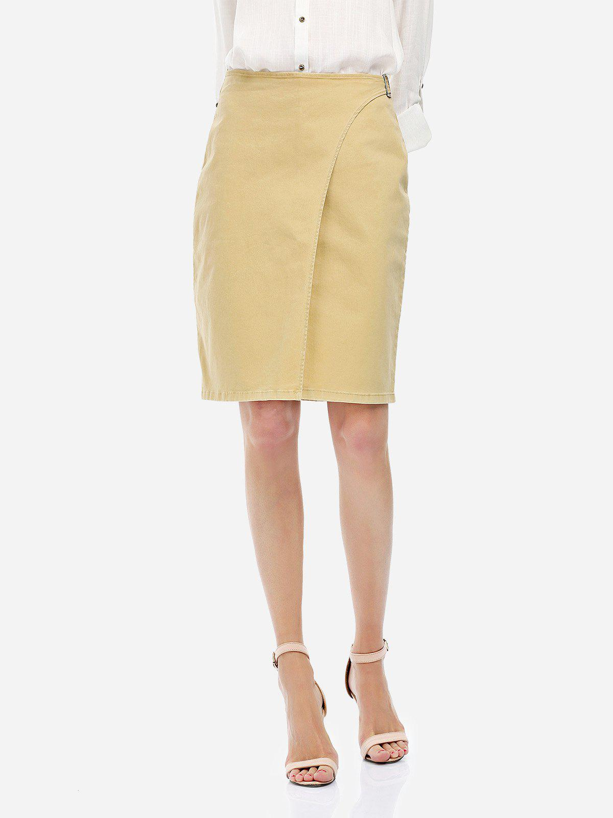 ZAN.STYLE High Rise A-line Skirt - KHAKI XL
