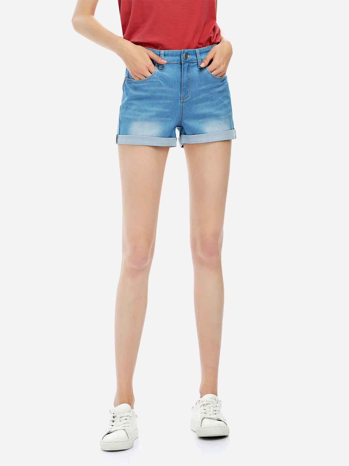 Faded Denim Shorts - BLUE XL