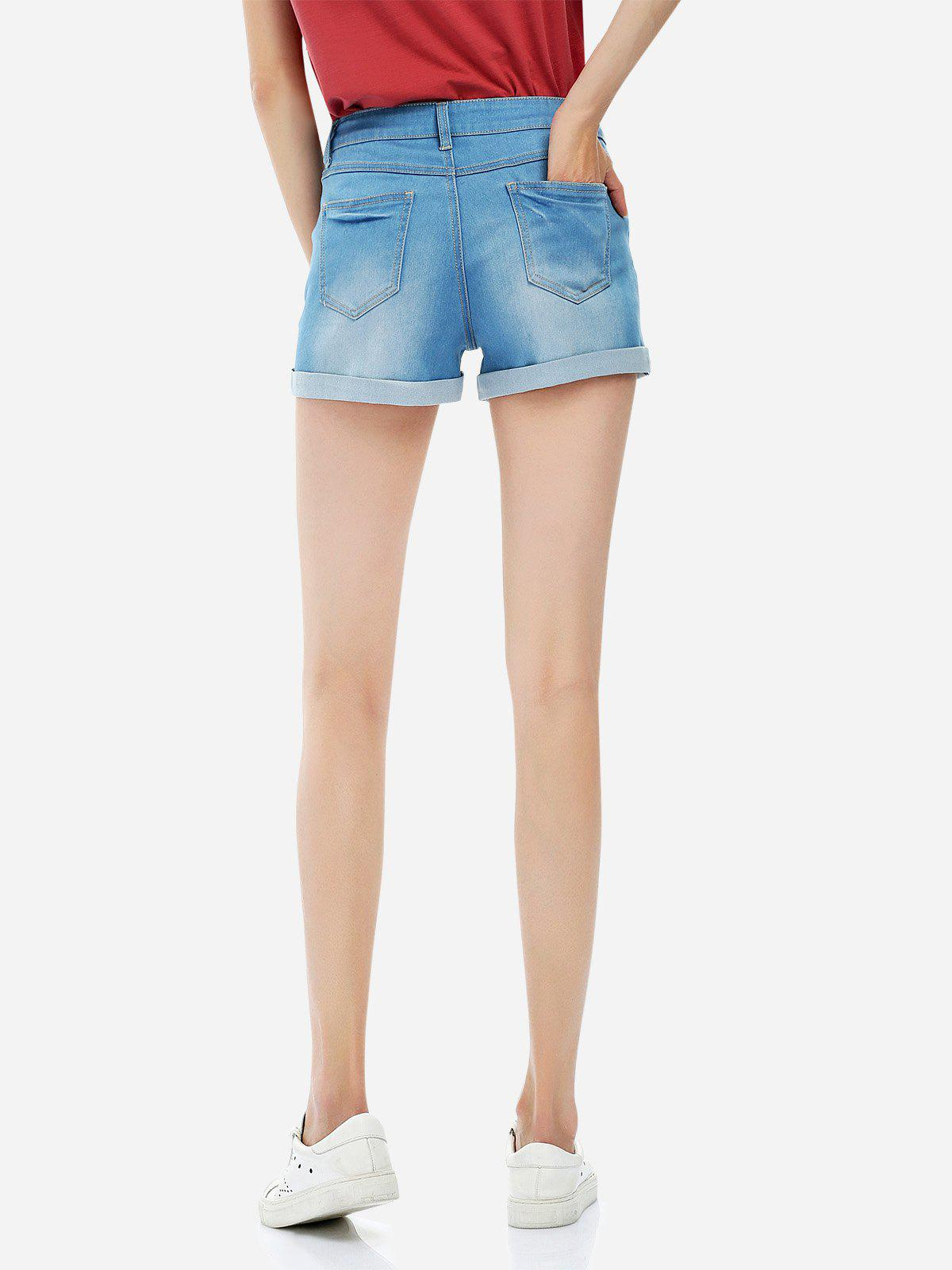 Faded Denim Shorts - BLUE S