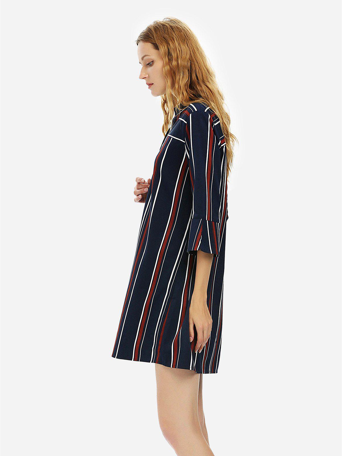 ZAN.STYLE V Neck Shirt Dress - BLUE STRIPE L