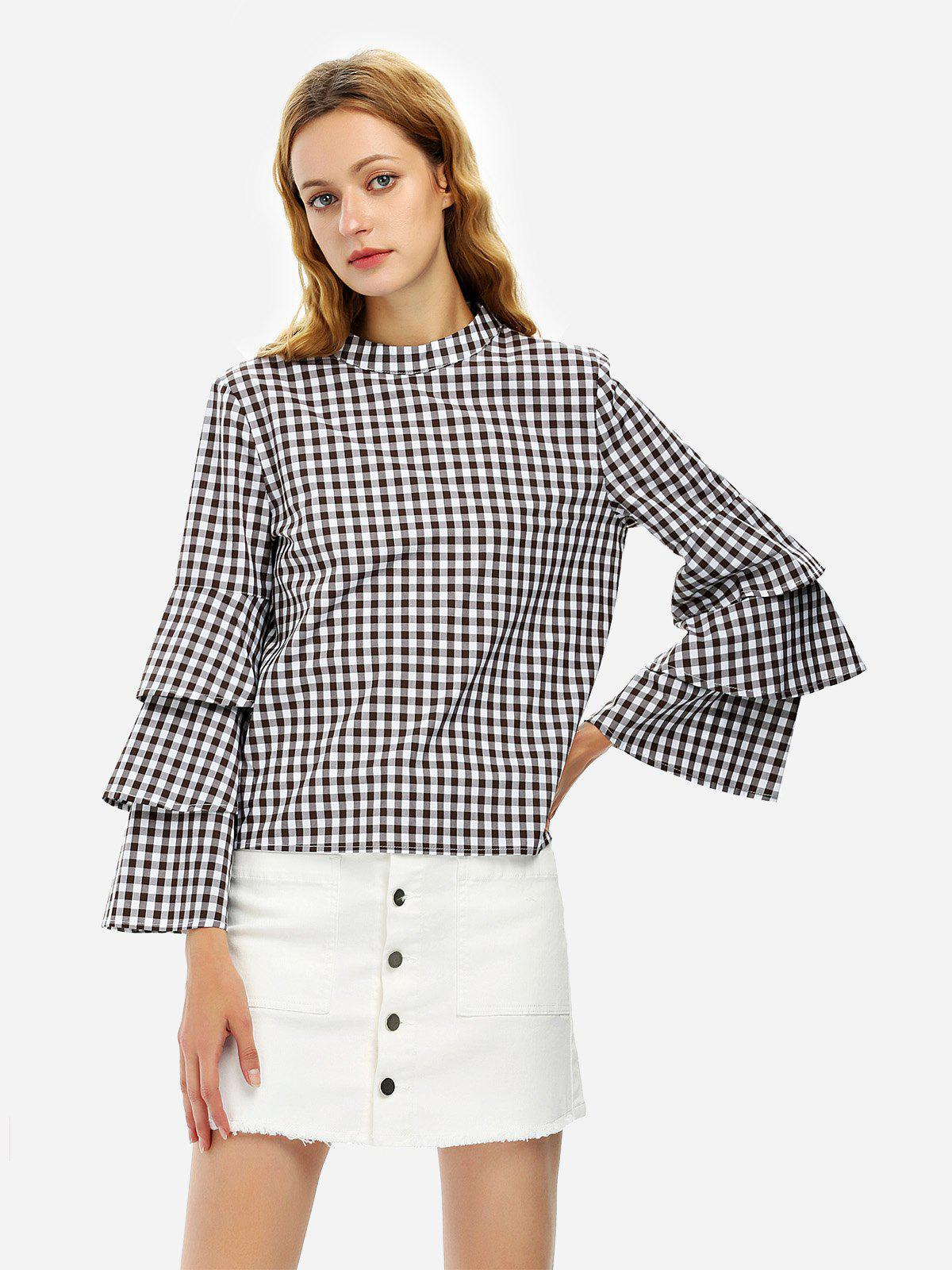 ZAN.STYLE Bell Sleeve Plaid Blouse Shirt - WHITE/COFFEE S
