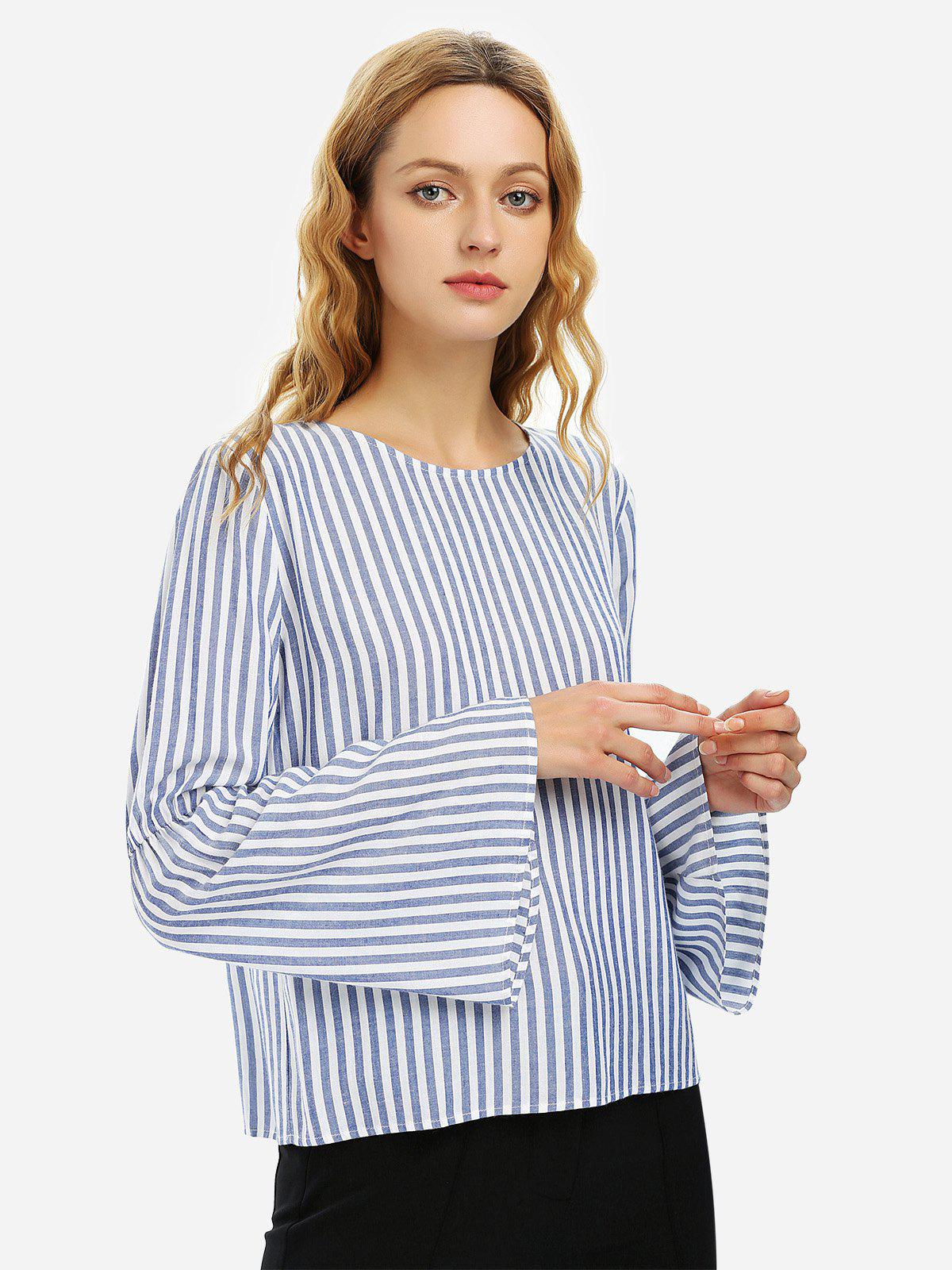 ZAN.STYLE Long Bell Sleeve Striped Blouse Shirt - BLUE WHITE STRIPED L