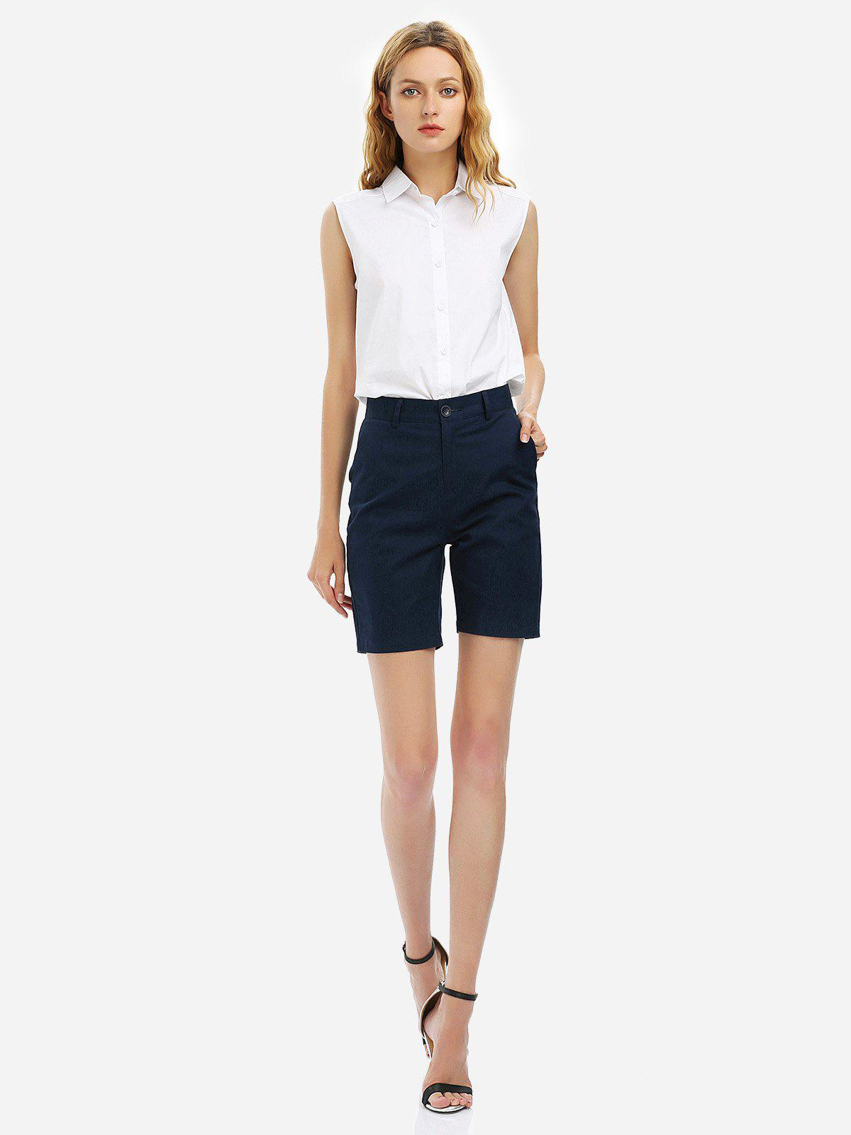 ZAN.STYLE Cuffed Shorts - PURPLISH BLUE L