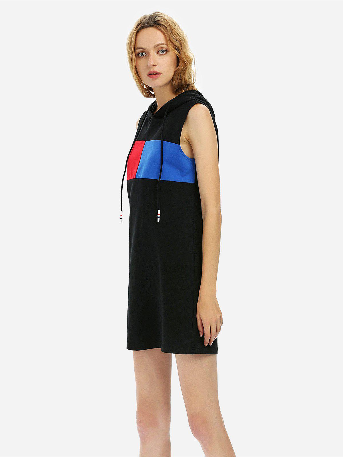 ZAN.STYLE Sleeveless Hooded Dress - BLACK XL