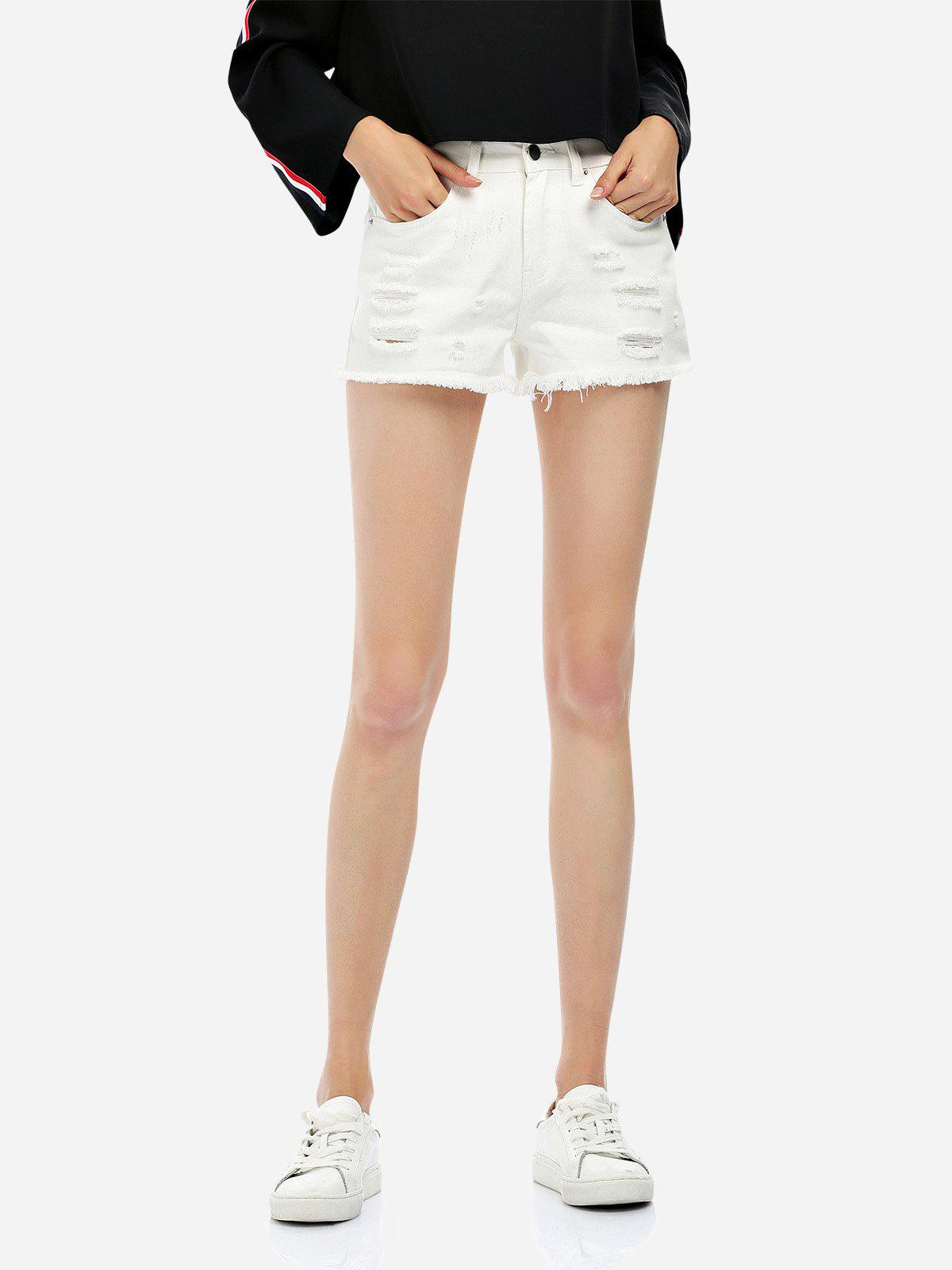 Ripped Cotton Shorts - WHITE M