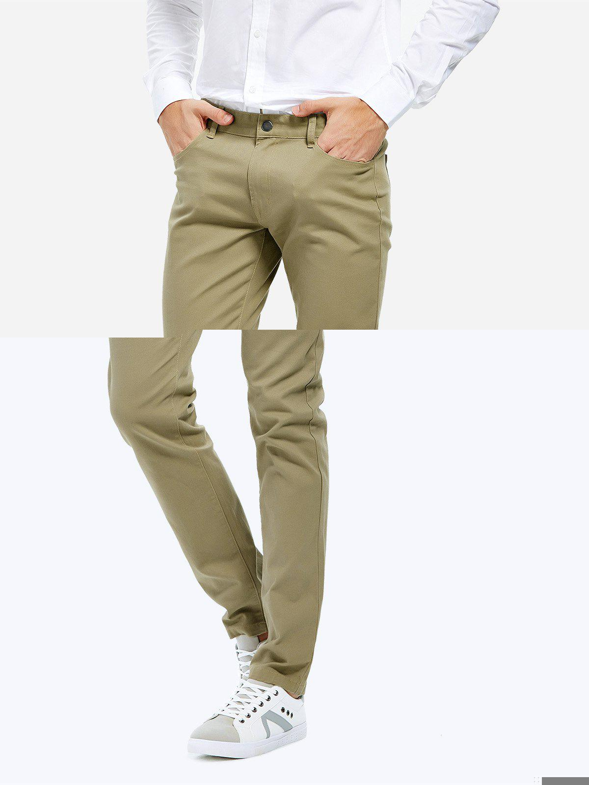 Stretch Knit Slim Fit Pants, Khaki