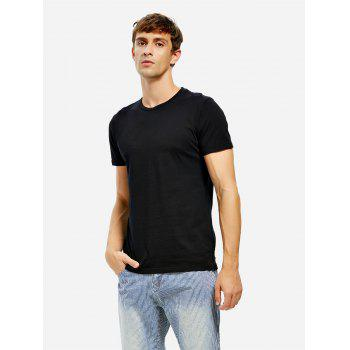 Crew Neck Side Slit T-shirt - BLACK BLACK
