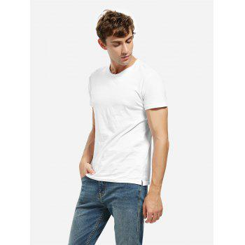 Crew Neck Side Slit T-shirt - WHITE L