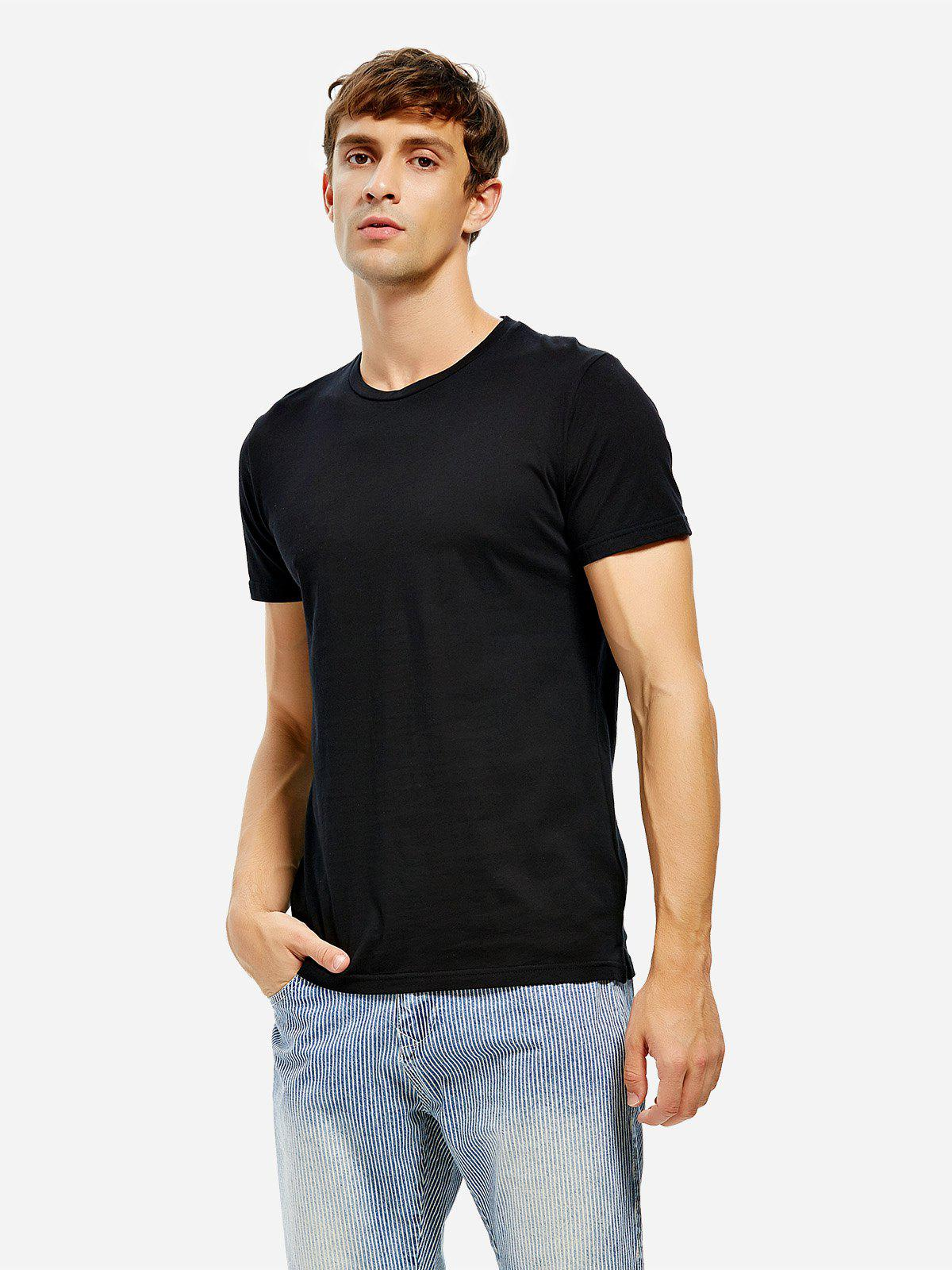 Crew Neck Side Slit T-shirt - BLACK S