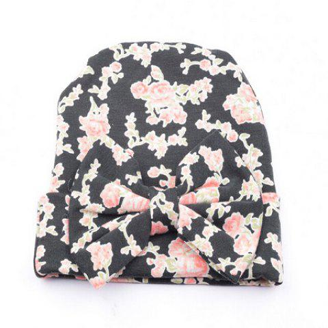 Bow Cotton Infant Baby Soft Cute Kid Hat Cap pour Nouveau-né - Noir
