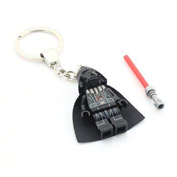 Alloy + Plastic Key Chain Hanging Pendant Warrior Shape Keyring Movie Product for Decoration - BLACK