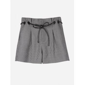 Plaid Belted Shorts - COFFEE COFFEE