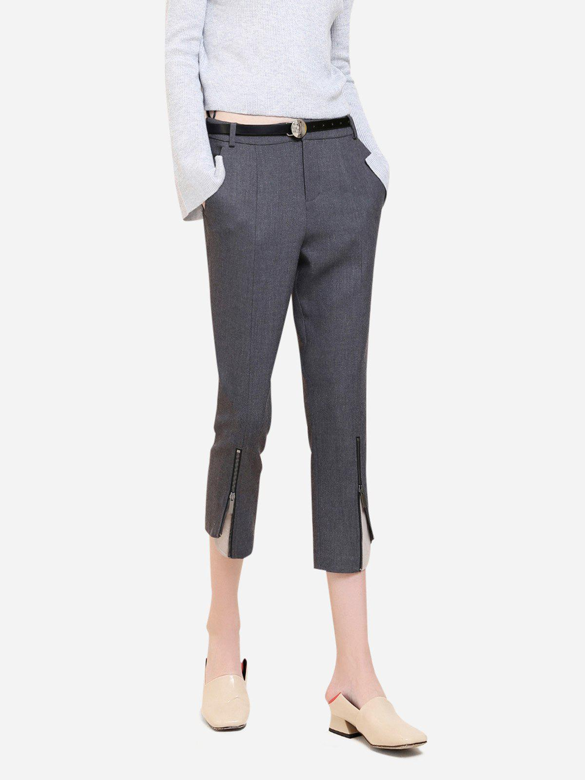 ZAN.STYLE Side Pocket Cropped Pants - GRAY 3XL