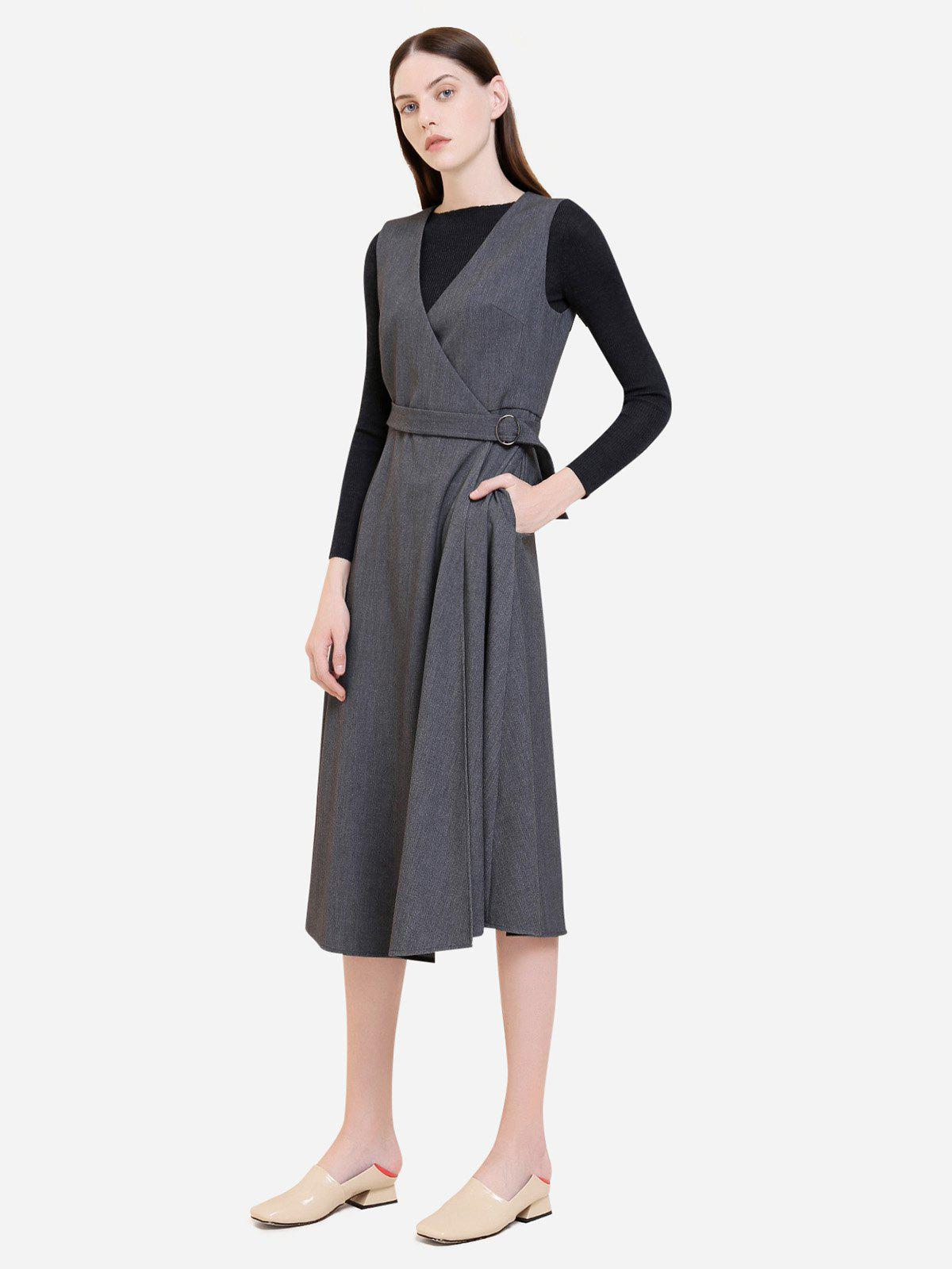 ZAN.STYLE Sleeveless Belted Dress Coat - GRAY L