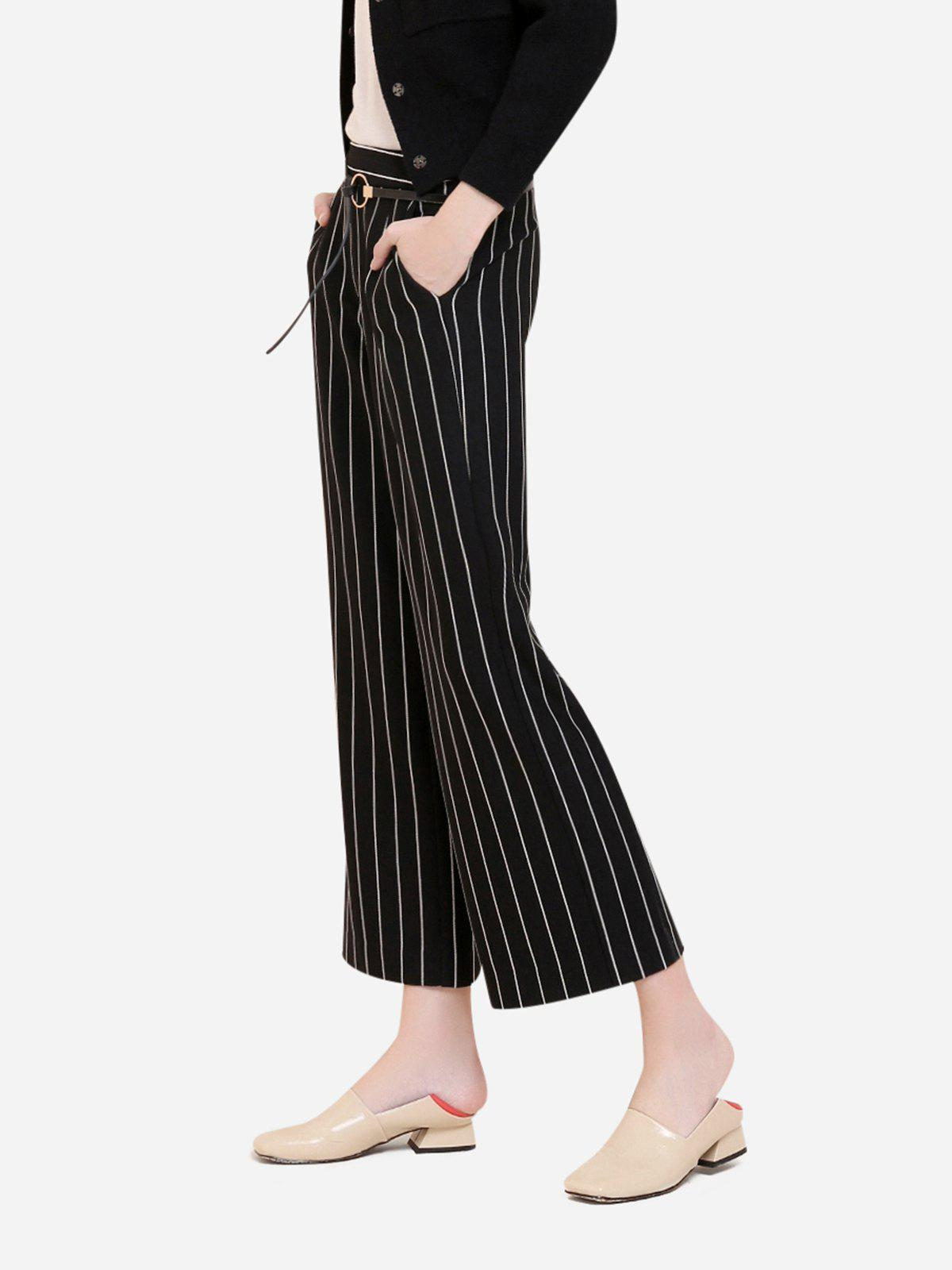 ZAN.STYLE Wide Leg Stripe Palazzo Pants - BLACK WHITE STRIPED L