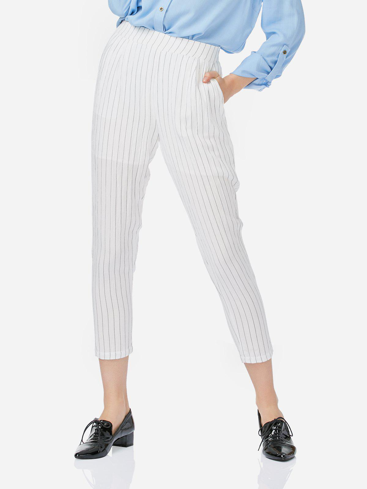 ZAN.STYLE Ankle Length Pleated Pants - WHITE S