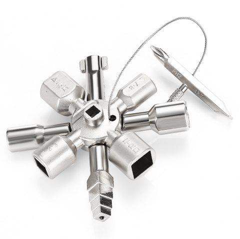 HakkaDeal 10 in 1 Electric Control Cabinet Cross Triangle Key Wrench - SILVER