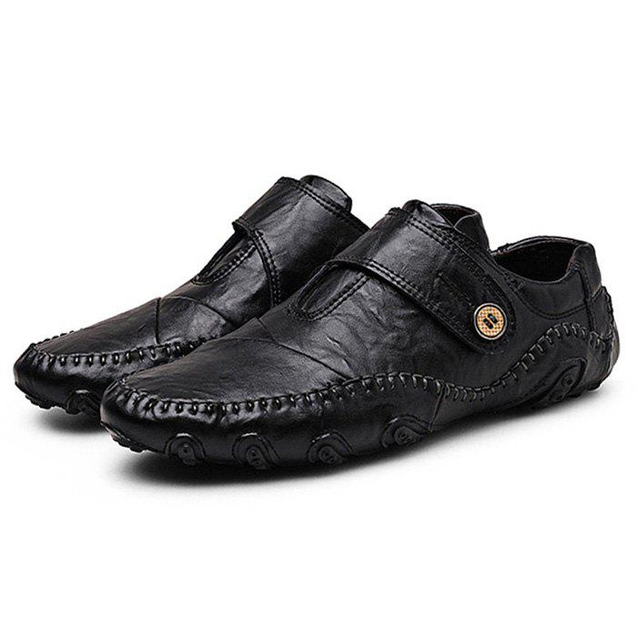 Soft Genuine Leather Rubber Soles Shoes - BLACK 41