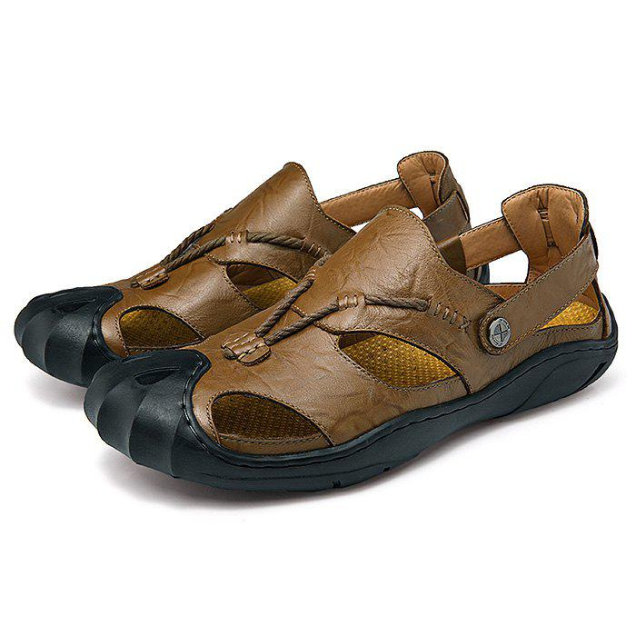Men Wearable Genuine Leather Rubber Soles Sandals, Khaki