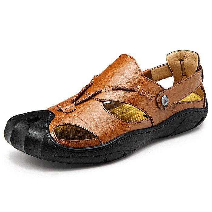 Men Wearable Genuine Leather Rubber Soles Sandals - BROWN 43