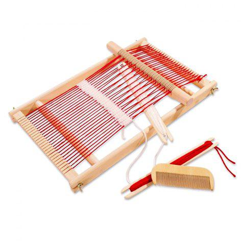 Traditional Wooden Weaving Loom Frame Pretend Play Toy for Children - COLORMIX