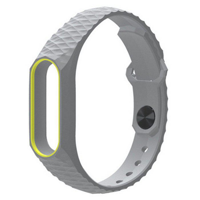 TPU Wristband for Xiaomi Mi Band 2 - YELLOW/GREY