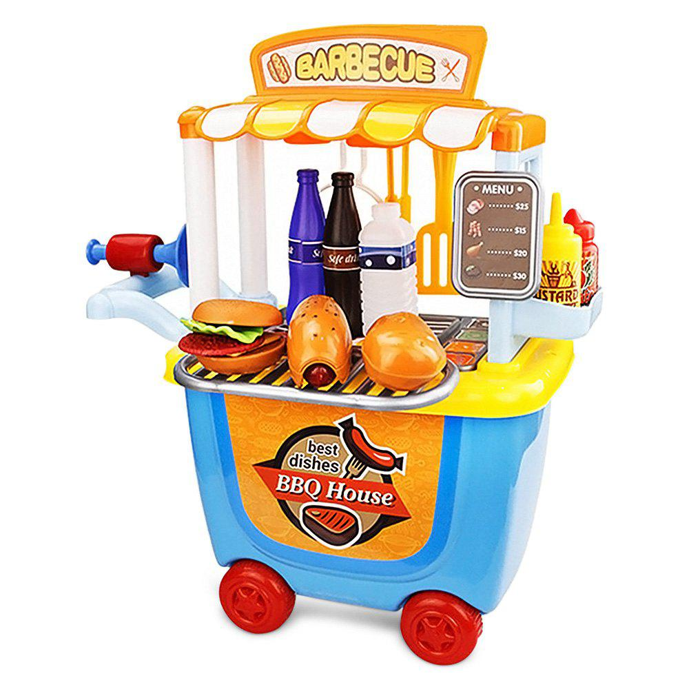 33pcs ABS Barbecue Cart Tool Pretend Play Toy with Realistic Hamburger Hot Dog for Kids