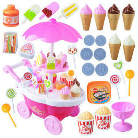 Mini Simulation Candy Ice Cream Trolley Shop with Music Light Pretend Play Toy Set for Kids - PINK