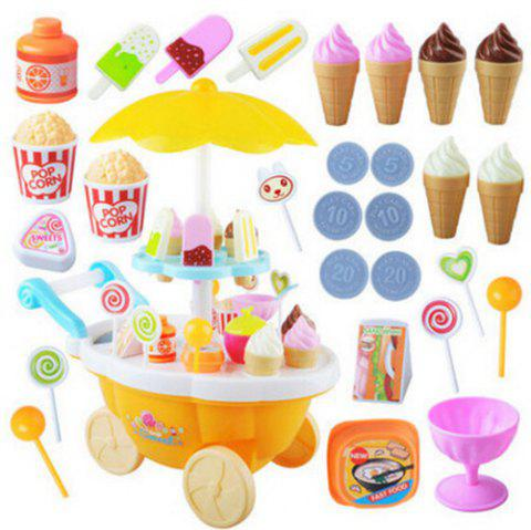 Mini Simulation Candy Ice Cream Trolley Shop with Music Light Pretend Play Toy Set for Kids - ORANGE YELLOW