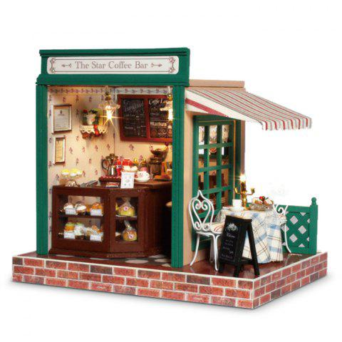 Wooden Cozy Coffee Bar DIY Kit Miniature Doll House with LED Light Terrace - COLORMIX