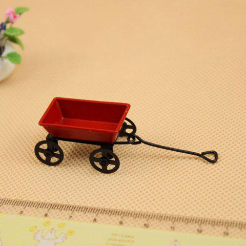 Miniature Metal Garden Cart for 1:12 Scale Doll House - RED/BLACK