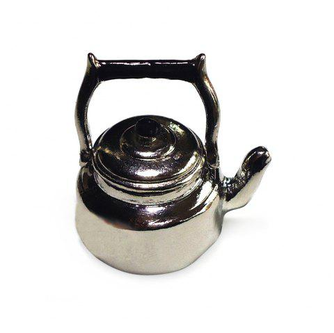 Mini Metal Kettle with Lid Kitchenware for 1:12 Scale Miniature Doll House - SILVER