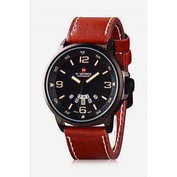 Naviforce 9028 Military Leather Band Quartz Analog Watch Japan Movt Day Date Water Resistant for Men - BROWN BROWN