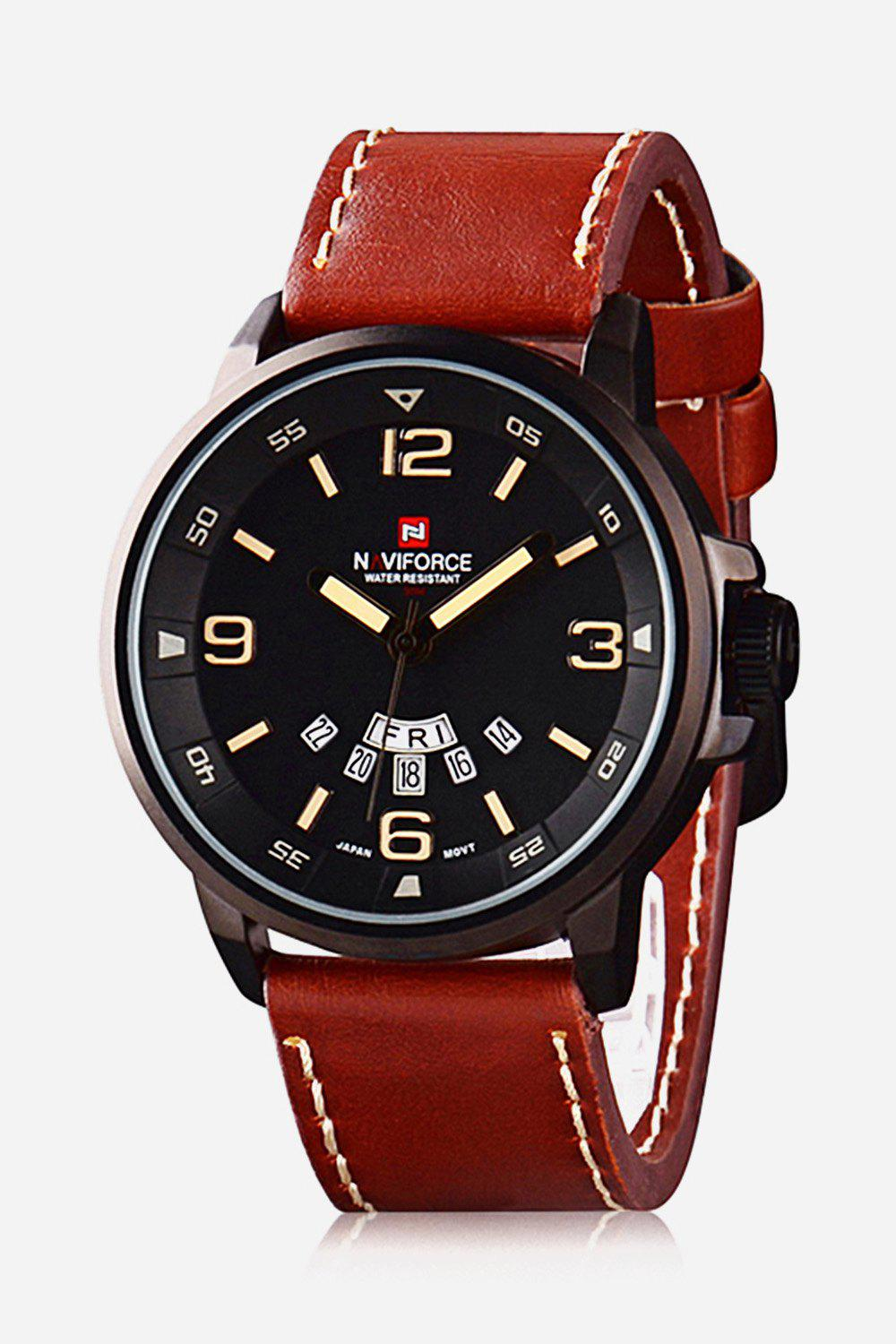 Naviforce 9028 Military Leather Band Quartz Analog Watch Japan Movt Day Date Water Resistant for Men - BROWN