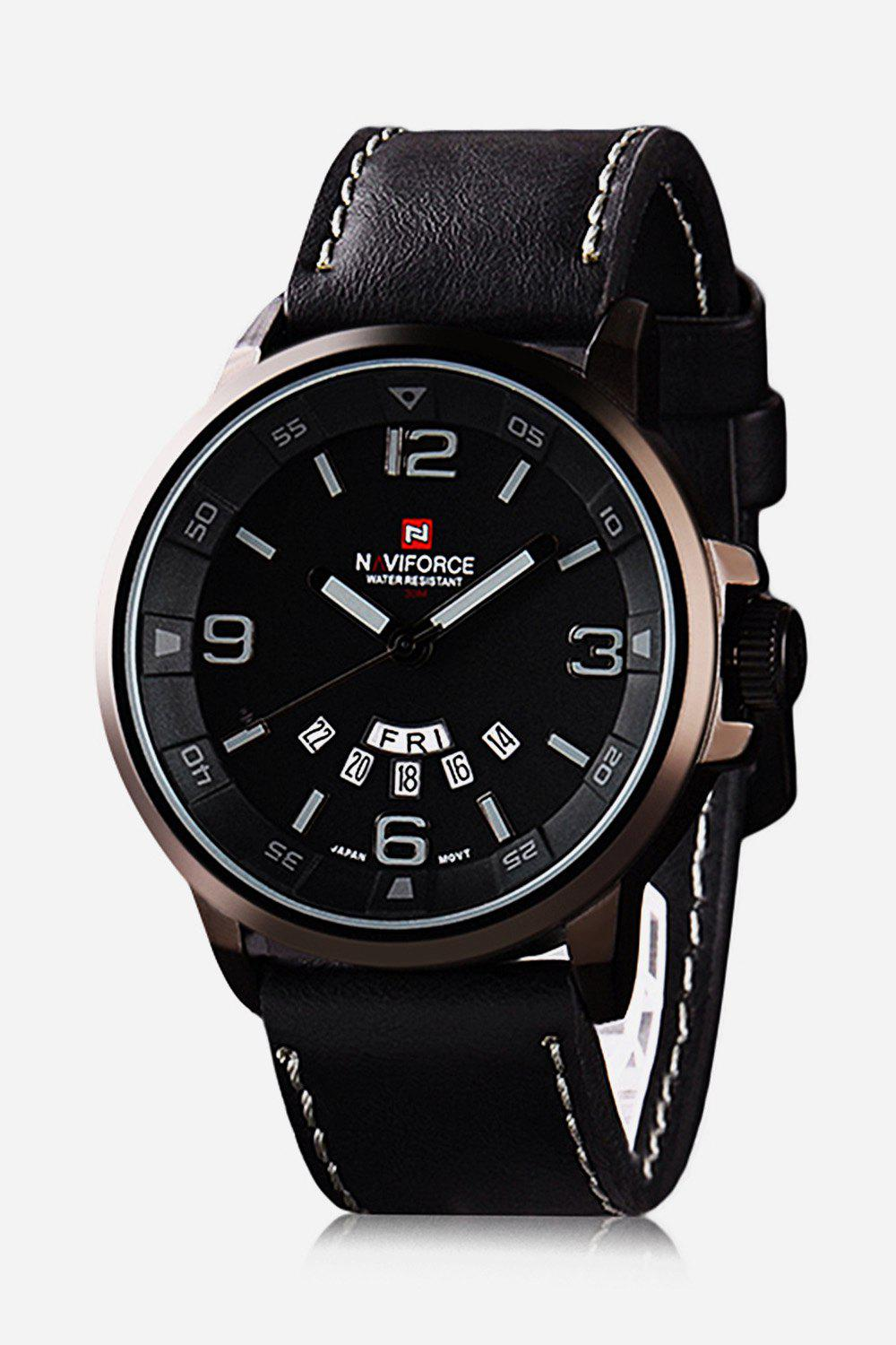 Naviforce 9028 Military Leather Band Quartz Analog Watch Japan Movt Day Date Water Resistant for Men - GUN METAL