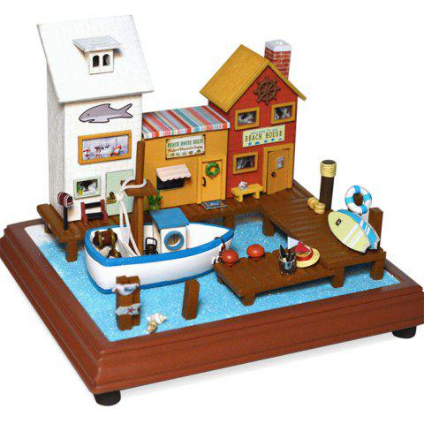 Miniature Wooden Seaside Vacation Doll House DIY Kit with Fishing Boat LED Light - COLORMIX