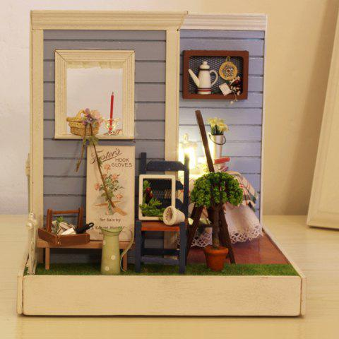 Miniature Wooden Cozy Coffee Shop DIY Kit Doll House with Terrace Plant LED Light - COLORMIX
