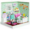 Cute Wooden Bedroom DIY Kit Miniature Doll House with Photo Wall Closet Flower - COLORMIX