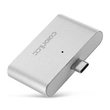 Coloriicc C4 4-in-1 OTG Smart Reader USB Type-C HUB TF Connection Kit - SILVER