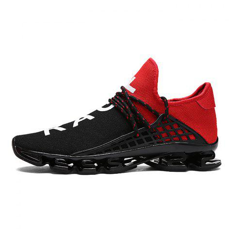 Stylish Lace Up Light Outdoor Walking Soccer Damping Athletic Shoes for Men - RED 44