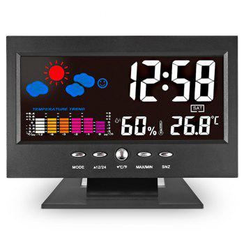 Unique Digital LED Alarm Clock Calendar Thermometer Date Time Watch Night Light - BLACK