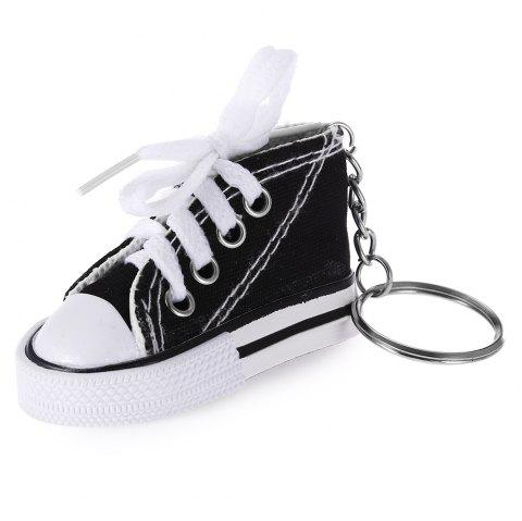 Emulational Classical Canvas Shoes Modeling Key Chain Holder Decor for Bags - BLACK