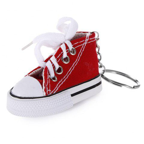 Emulational Classical Canvas Shoes Modeling Key Chain Holder Decor for Bags - RED