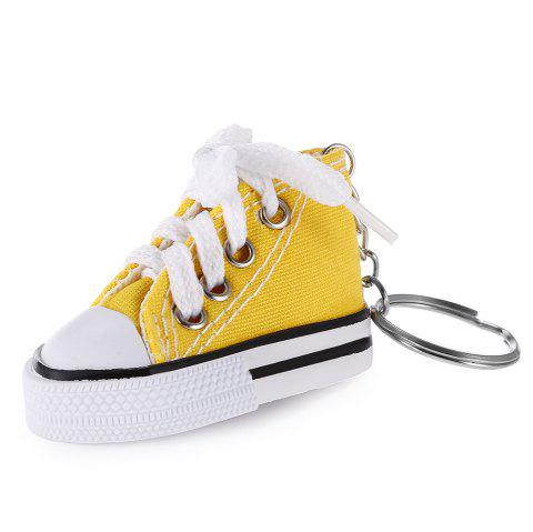 Emulational Classical Canvas Shoes Modeling Key Chain Holder Decor for Bags - YELLOW